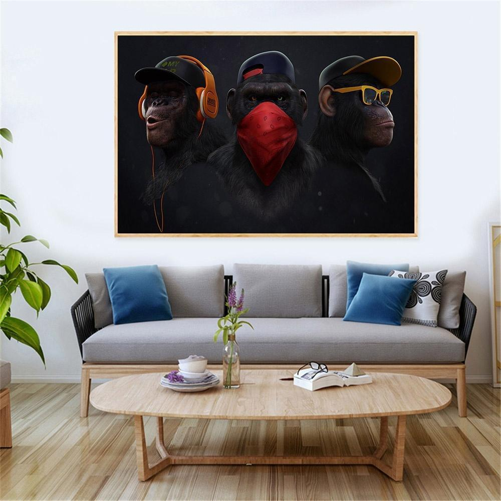 Animal Swag Monkey Canvas Print Modern Painting Home Wall Art Decor No Framed)