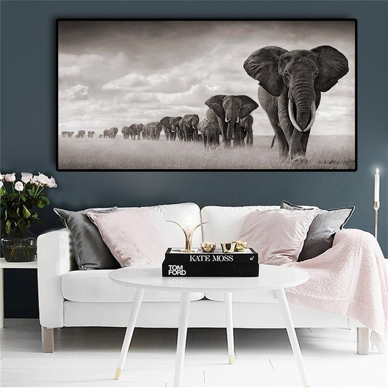 Africa Elephants Wild Animals wall art painting wall art canvas canvas painting canvas painting wall art wall art pictures canvas poster Oil Painting On Canvas Wall Art canvas art print For Living Room(No Frame)