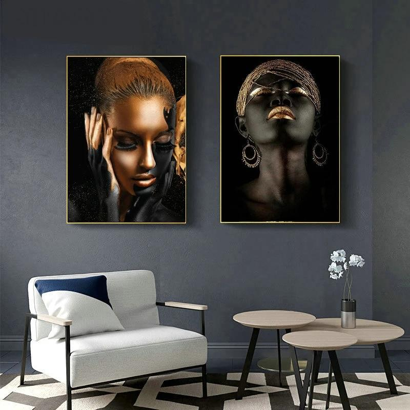African Art Woman Oil Painting on Canvas Posters and Prints Scandinavian Wall Picture for Living Room