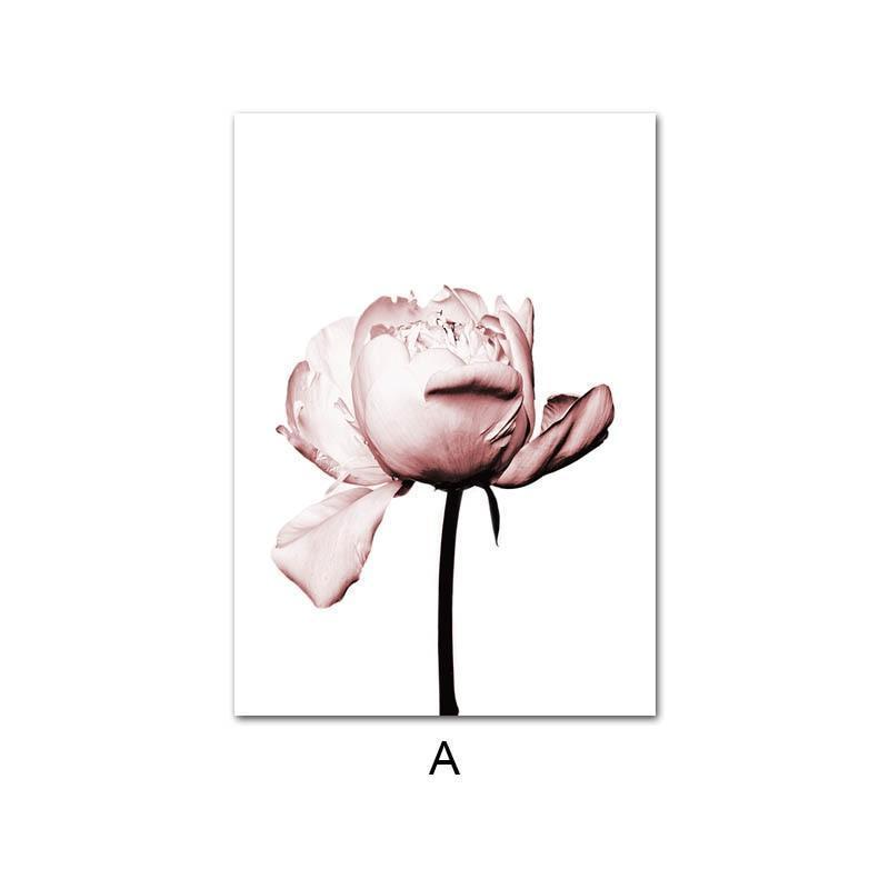 Wall Art Canvas Poster Pink Flower Old Gate Nordic Decorative Picture Painting Modern Decor