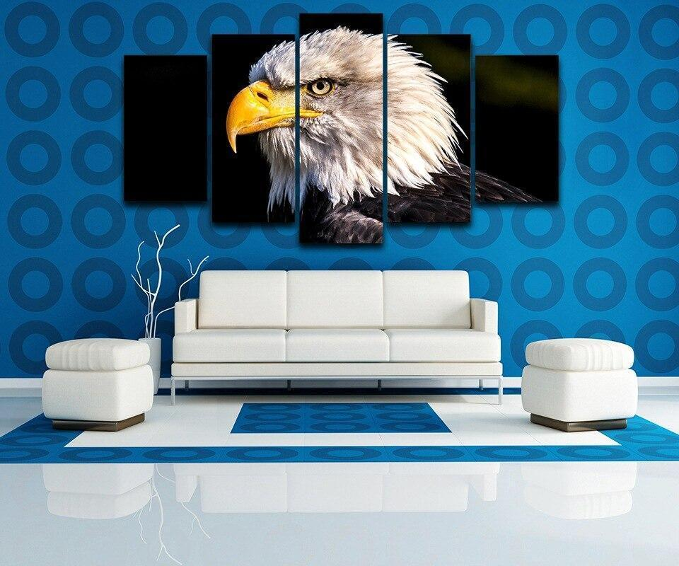Canvas Painting HD Printed Wall Art Photo Home Decor Living Room 5 Pieces Bald Eagle Animal Poster Modern Pictures Frame