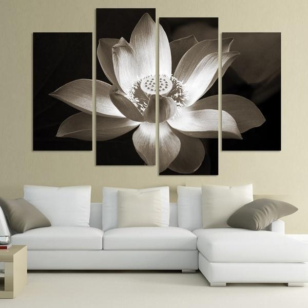 4panel Modern Wall Art Home Decoration Printed Flower Painting Canvas Prints Black And White Simple Lotus Flower(Unframed)