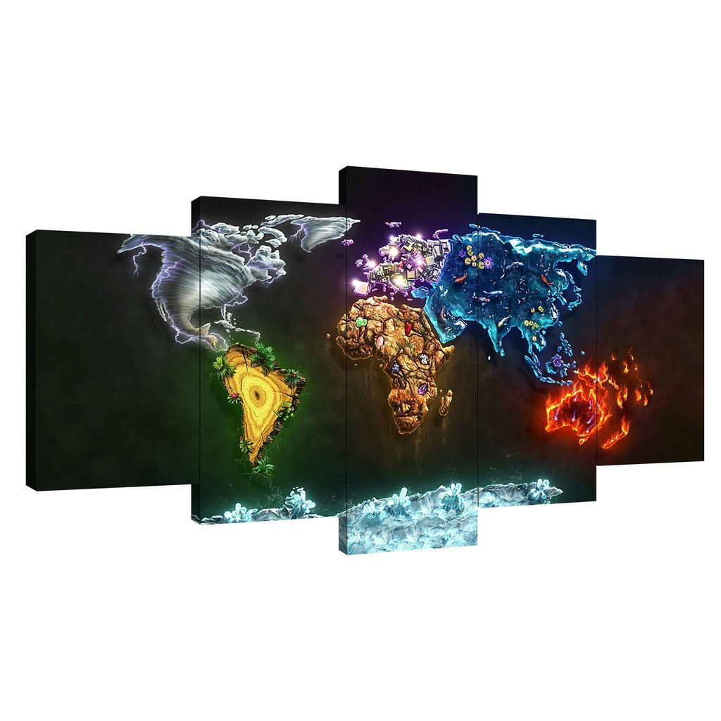 World Map Continents HD Modern Home Wall Decor Photography Canvas Print Oil Painting Wall Art Picture House Decoration Posters