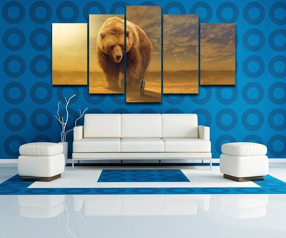 Modern Painting Abastract Wall Art Pictures Home Decor 5 Pieces Canvas HD Printed Animal Brown Bear And Man Poster Frame