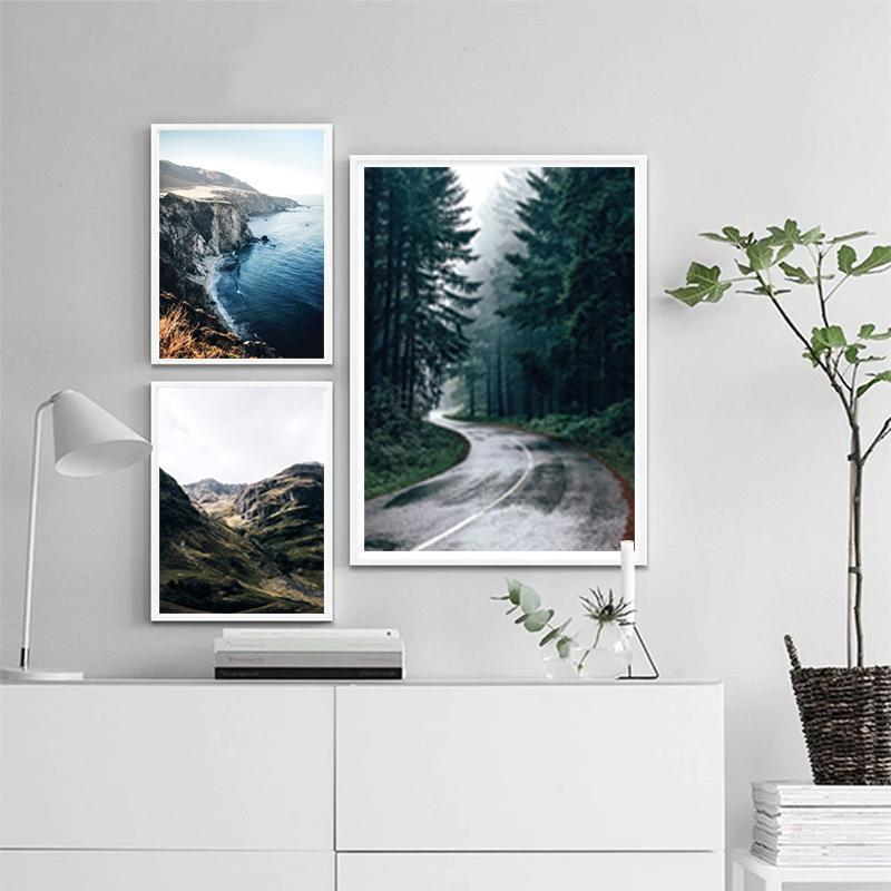 Mountain Print Forest Canvas Poster Nature Nordic Style Landscape Wall Art Print Painting Decorative Picture Living Room Decor