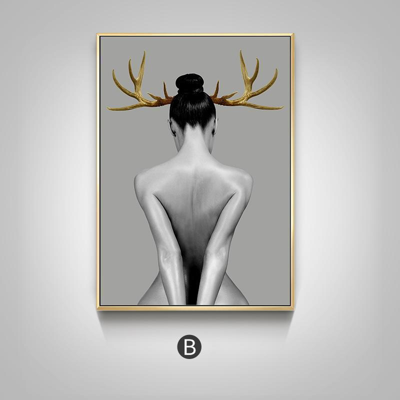 Nordic Antlers girls Figuars wall art Canvas Painting  Prints Posters Black White Art Pictures for Living Room Morden Decor