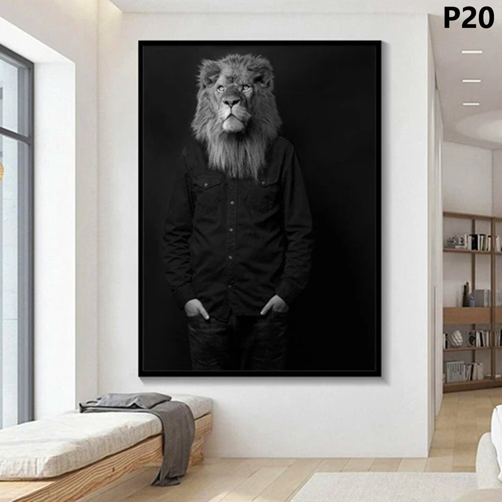 Black and White Classy Lion Tiger Elephant Giraffe Wolf Horse Wall Art Posters And Prints Animal Wearing a Hat Canvas Painting