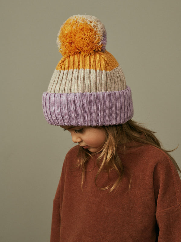 Multicolor Beanie with Pompom, lavender-oat-yellow