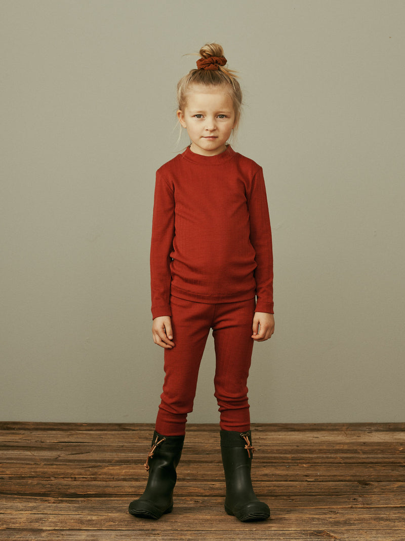 Merino Wool Leggings, Paprika
