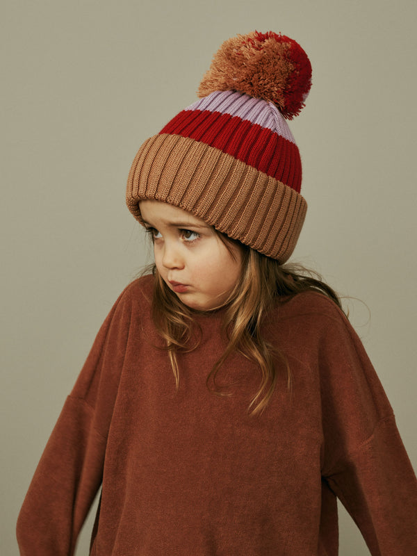 Multicolor Beanie with Pompom, camel-red-lavender