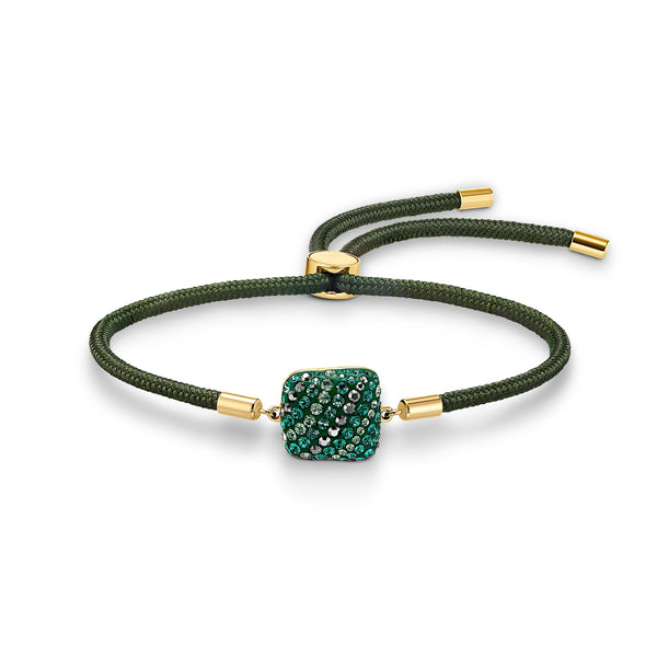 PULSERA SWAROVSKI POWER COLLECTION EARTH ELEMENT, VERDE, BAÑO TONO ORO