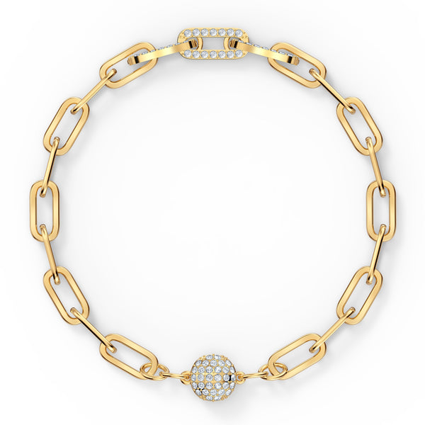 PULSERA THE ELEMENTS CHAIN, BLANCO, BAÑO TONO ORO