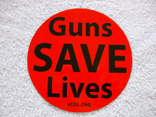 Guns Save Lives Static Cling (sticks to the inside of your window without glue)
