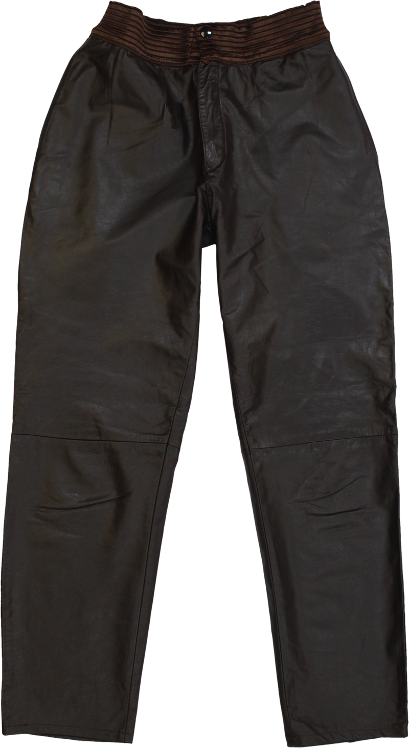 80s Leather Pants with Elastic Waistband
