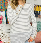 Button Accent Stripe Top