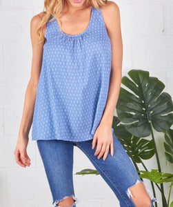 Chambray Top with Zipper Back
