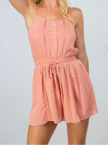 Lace stripe draw string romper