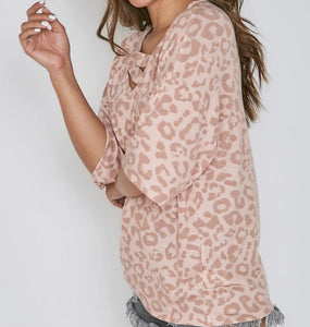 Animal printed Short Sleeve Knit top - Dreambox Boutique LLC
