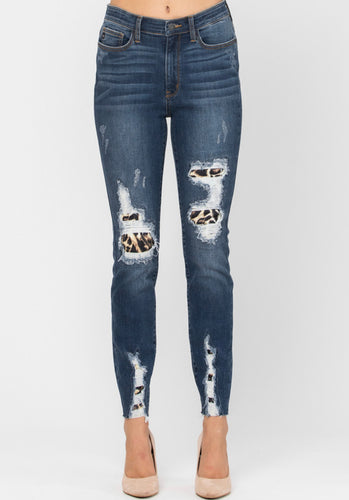 High waist Leopard Patch Skinny Jeans