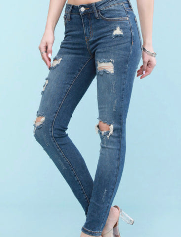 Destroyed Skinny Jeans - Dark Blue