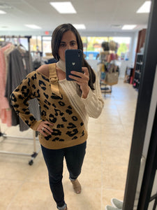Leopard Buckle Knit Sweater