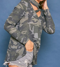 Load image into Gallery viewer, Waffle Knit Camo Criss Criss Front