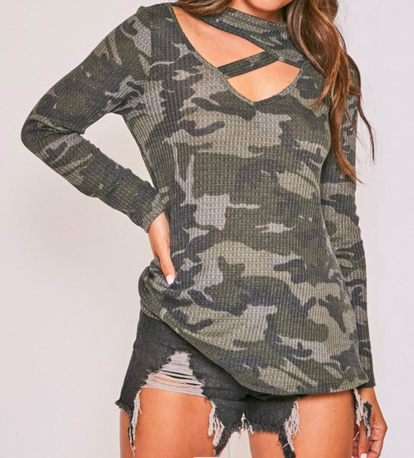 Waffle Knit Camo Criss Criss Front