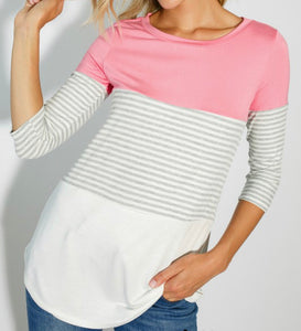 Candy pink 3/4 sleeve with stripes