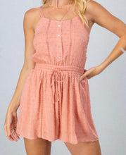Load image into Gallery viewer, Lace stripe draw string romper