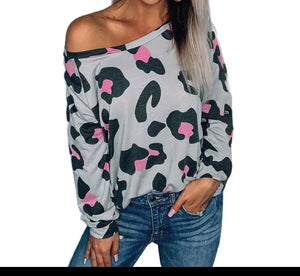 Pink Leopard Off the shoulder