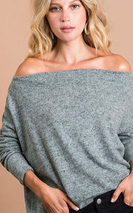 Brushed Hacci off the shoulder top