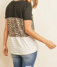 Load image into Gallery viewer, Leopard stripe Color block shirt