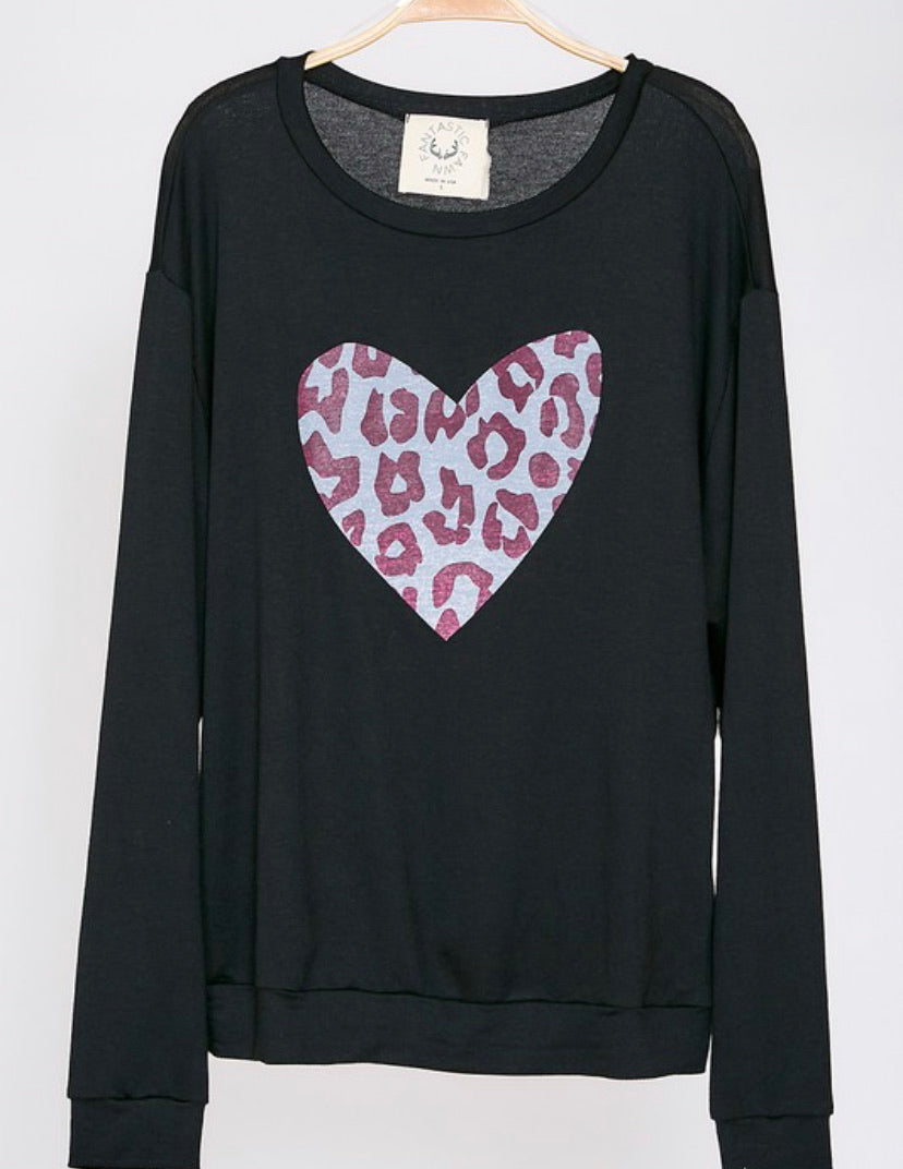 Leopard Heart long sleeve