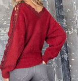 Lace trim fuzzy sweater