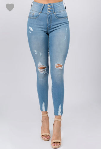 Ripped Skinny Jeans- Midrise