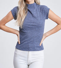 Load image into Gallery viewer, Denim color top with high neck