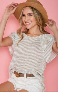 Ruffle Shirt Sleeve Top