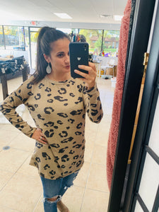 Casual Taupe Leopard Top