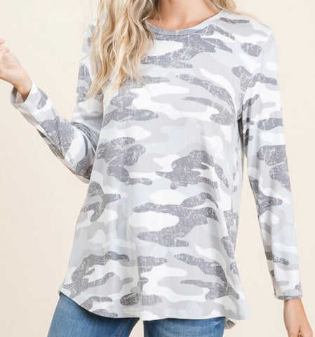 Camo printed long sleeve
