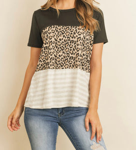 Leopard stripe Color block shirt
