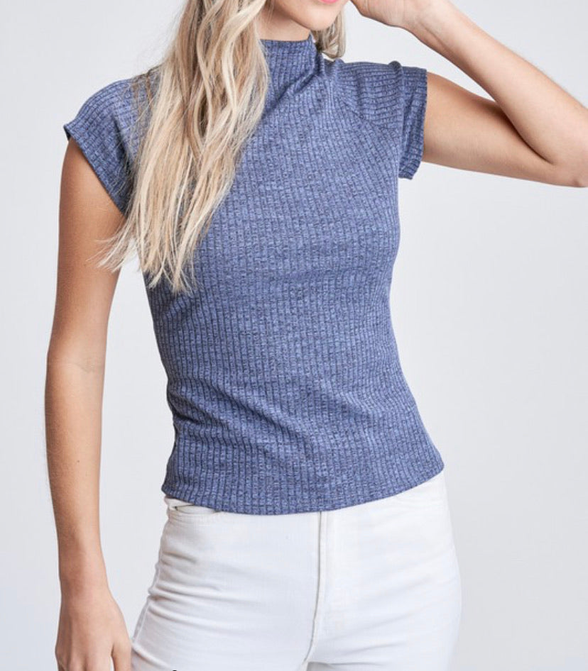 Denim color top with high neck