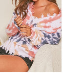 Edgy distressed Multi Tie Dye Sweater
