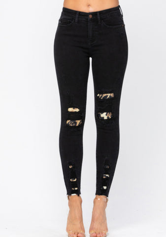 Black Destroyed Leopard Patch
