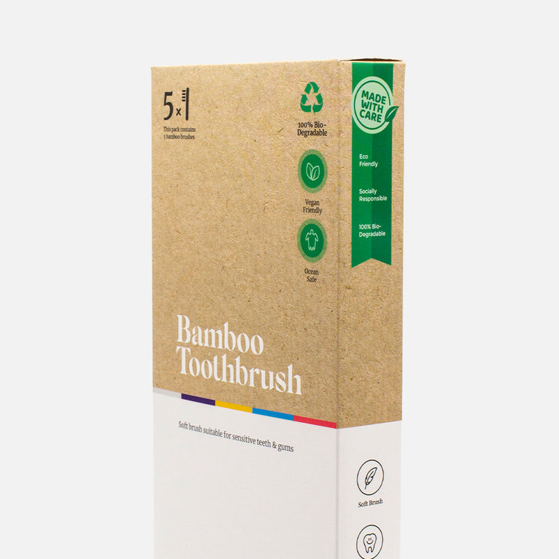 5 Pack Bamboo Toothbrush