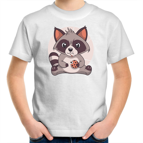 Raccoon Eating Cookie - Kids Youth T-Shirt