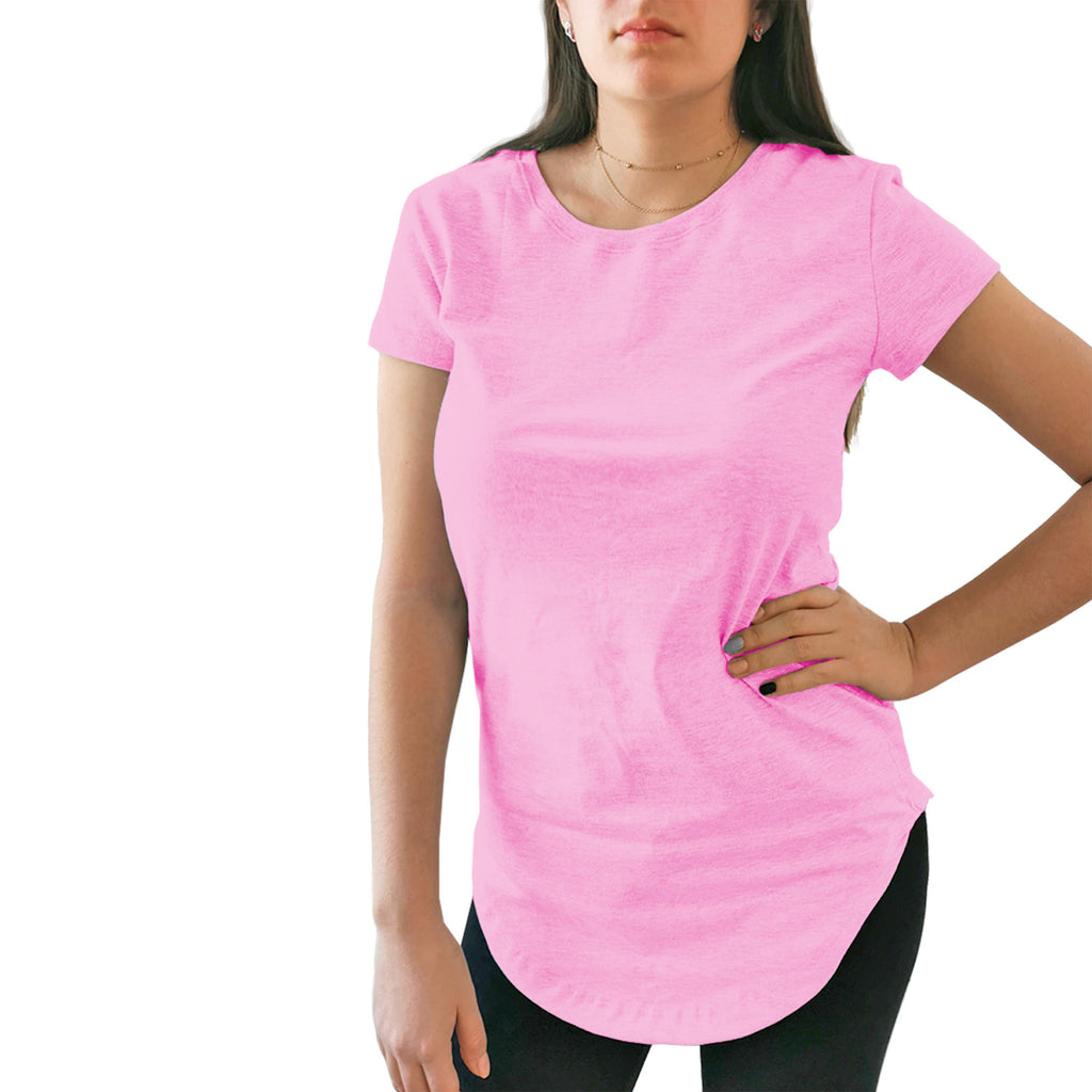 blusa dama long fit rosa pastel