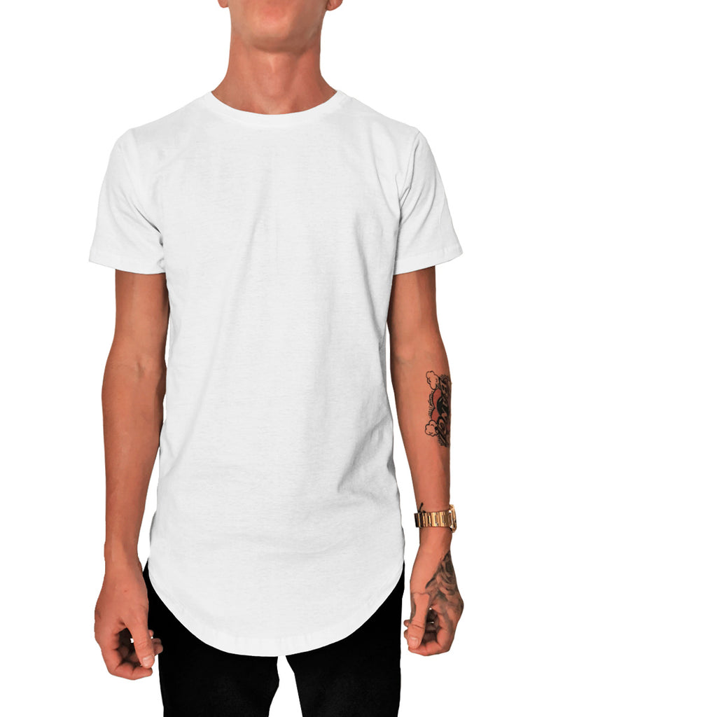 Playera Long Fit Swag Curva Caballero Blanca y Negra