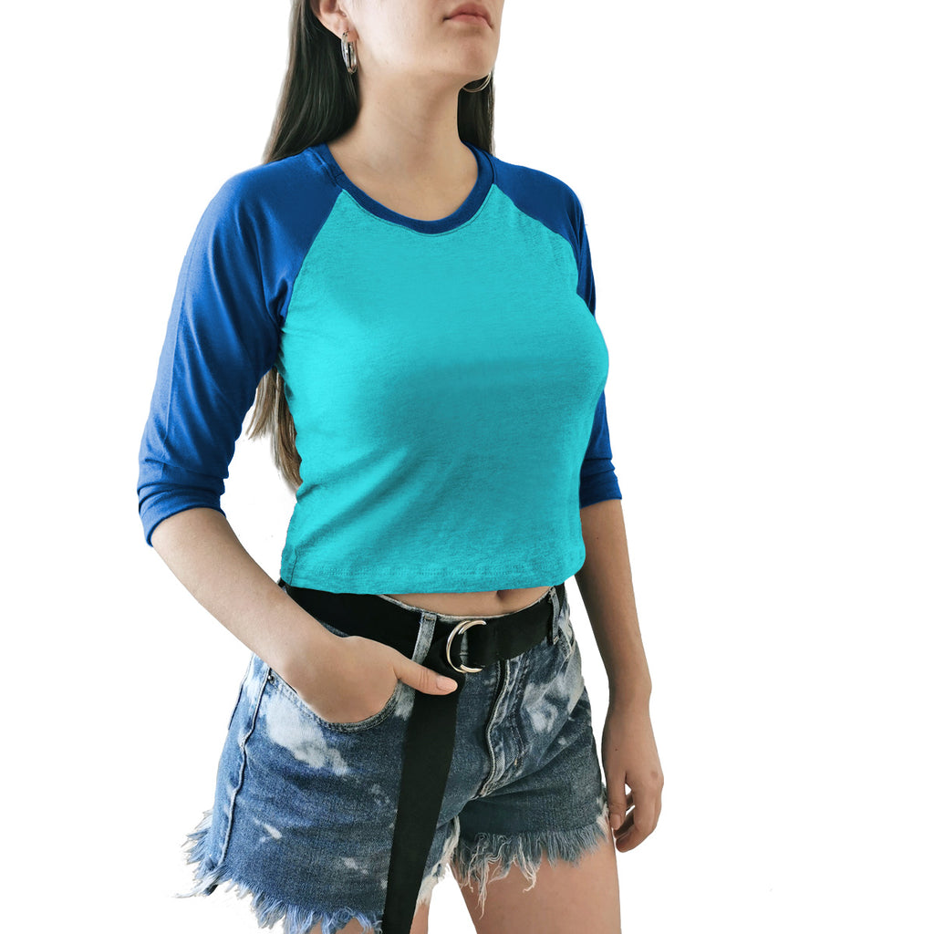 crop top raglan dama azul