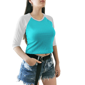 crop top dama azul blanco