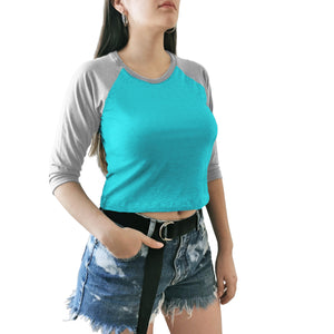 crop top dama azul gris